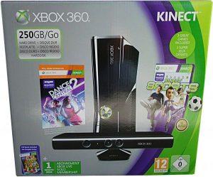 مايكروسوفت X بوكس 360 وحدة التحكم 250 جيجابايت حزمة مع كينكت، 3 ألعاب و 1 شهر اكس بوكس لايف عضويةذهبية