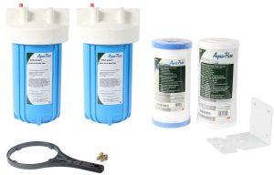 نظام فلتره مياه كامل شامل الشمعة Ap801 للمنزل بأكمله من 3 ام أكوا بيور dhdinhos005-B - أبيض/أزرق