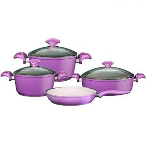 Falez Lila Granitec Non Stick Cookware Set - 7 Pcs - Purple
