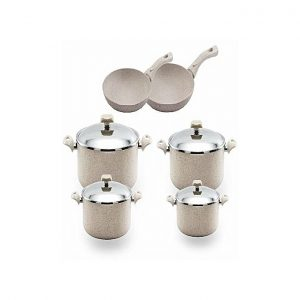 Nouval Stone Granite Cookware Set - 10 Pcs - Beige