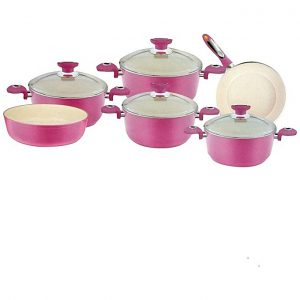 Other Turkish Ceramic Cookware Set - 10 Pcs - Pink