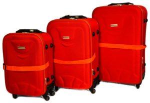 شنط سفر من ديسكفري 3 قطع مع قياس الوزن وبلوتوث للتعقب -اللون احمر - RW2214