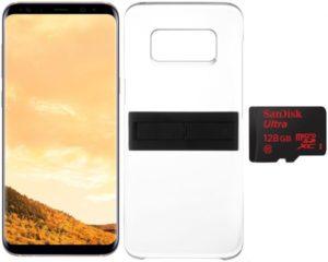 سامسونج جالكسي S8 + بشريحتي اتصال - 64 جيجا، الجيل الرابع ال تي اي، ذهبي مع كيكتوك كوفر أسود و سان ديسك 128 جيجا بايت