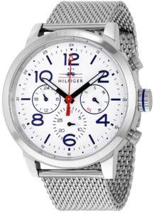 ساعة تومي هيلفيغر للرجال مينا ابيض بسوار ستانلس ستيل - 1791233