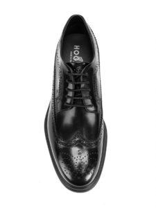 هوجان للرجال Hxm3040w3626q6b999 أحذية جلدية سوداء الدانتيل متابعة