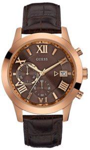 ساعة جيس للرجال مينا وبسوار جلدي بني كرونوغراف - W0669G1
