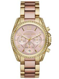 ساعة مايكل كورس بلاير للنساء بمينا زهري كرونوغراف وبسوار ستانلس ستيل - MK6316