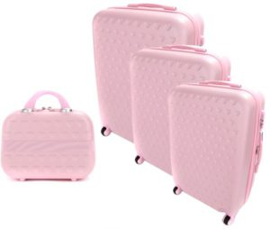 مورانو حقائب سفر بعجلات - مجموعة مكونة من 3 قطع مع حقيبة لمستلزمات التجميل - 6690، اللون وردي