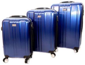شنط سفر من ديسكفري 3 قطع مع قياس الوزن وبلوتوث للتعقب -اللون أزرق - RA8690