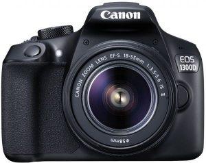 كاميرا كانون EOS 1300D مع معدات عدسة - 18 ميجابكسل، دي اس ال ار، 18 - 55 ملم 3.5-5.6 IS II، اسود