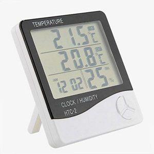 جهاز قياس درجة الحرارة والرطوبة مع ساعة منبه وشاشة ال سي دي وحرارة ثنائية، للاستخدام خارج وداخل المنزل