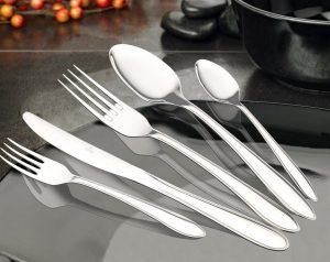 طقم اطباق رويال من 20 قطعة، ستانلس ستيل، طقم ادوات مائدة عاكسة مصقولة لاربعة اشخاص