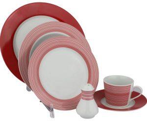 طقم سفرة اتش اي سي , اللون مقلم ابيض و احمر , مكون من 32 قطعة