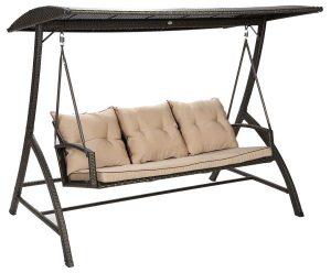 ارجوحة روطان من 3 مقاعد بطراز سونيا من دانوب هوم - اللون بني/بيج