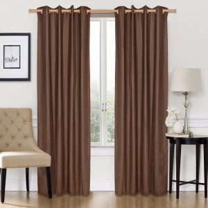 Diveenas Polyester Brown 240 x 140 cm Classic Bubble Plain Curtain