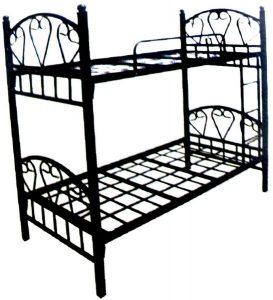 سرير طابقين علوي و سفلي مصنوع من المعدن يناسب الجنسين ، اللون اسود - قياس مفرد