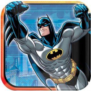 طقم صحون مربعة بشخصية باتمان من امسكان - (ازرق، رمادي، اصفر)، 8 قطع، 541386