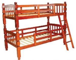 سرير طابقين علوي و سفلي مصنوع من الخشب يناسب الجنسين ، اللون اللون بني - قياس مفرد