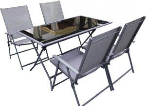 طاولة معدنية مستطيلة قابلة للطي مع عدد 4 كرسي قابل للطي من قماش التكستيلين