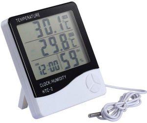 جهاز لقياس الرطوبة ودرجة الحرارة ومع ساعة منبه، مزود بشاشة ال سي دي، باللون الابيض، HTC-2