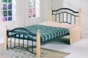 سرير عادي مصنوع من المعدن من شركة جالاكسي ديزاين يناسب الجنسين ، اللون بيج - قياس مفرد