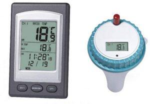 اداة عائمة لقياس درجة حرارة ماء المسابح، رقمية لاسلكية مع لاقط وشاشة ال سي دي