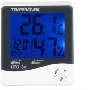 جهاز لقياس درجة الحرارة ونسبة الرطوبة ويظهر الوقت، مزود بشاشة ال سي دي مضاءة، HTC-8A