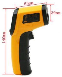 جهاز رقمي لقياس درجة الحرارة بالليزر لون اسود واصفر