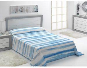 بطانية هندسية مطبوعة من مورا - 220 × 240 سم - أزرق