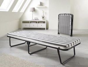 سرير قابل للطي مصنوع من المعدن من شركة جاي بي يناسب الجنسين ، اللون اسود - قياس مفرد