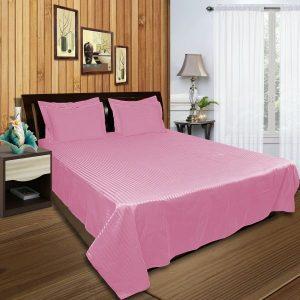 اطقم اغطية سرير مصنعة من نسيج قطن من شركة جست لينين بتصميم مخطط ، لون زهري - قياس كينغ