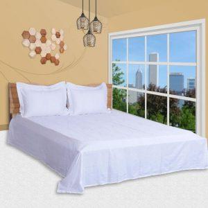 اطقم اغطية سرير مصنعة من نسيج قطن من شركة جست لينين بتصميم مطبوع ، لون ابيض - قياس كاليفورنيا كينغ