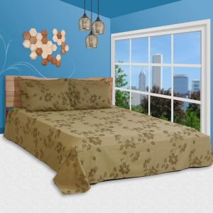 اطقم اغطية سرير مصنعة من نسيج قطن من شركة جست لينين بتصميم مزين بالورود ، لون بني - قياس كينغ