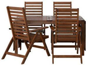 طاولة و4 كراسي للاستلقاء ، لخارج المنزل، مطلية بالبني من ابلارو