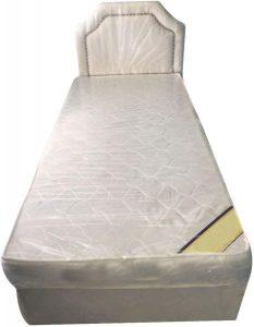 سرير عادي مصنوع من الخشب من شركة جالاكسي يناسب الجنسين ، اللون اوف وايت - قياس مفرد