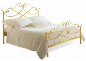 سرير عادي مصنوع من الحديد من شركة شوفاني يناسب الجنسين ، اللون ذهبي - قياس كامل/مزدوج