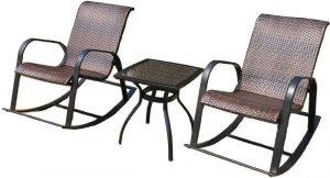2 كرسي هزاز للروطان و 1 طاولة شاي من خشب الراتان (مجموعة شرفة الروطان من الألومنيوم)