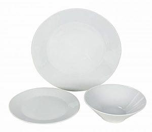 طقم سفرة عشاء من البورسلين 18 قطعه ، اللون ابيض