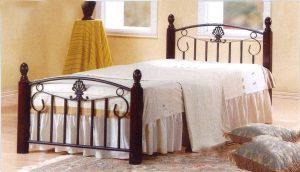 سرير خشب من الخشب الصلب من جالاكسي - مع فراش طبي ، أرجل الكرز - 90 × 190 سم GDF-3888
