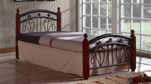 جالاكسي سرير خشبي خشبي مفرد مع فرشات طبية ، أرجل الكرز - 90 × 190 سم GDF-9038