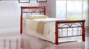 سرير خشب من الخشب الصلب مع مسند طبي ، فراش كرز بني - 90 × 190 سم GDF-9060CBR