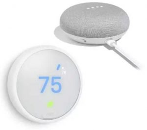 Nest Learning Thermostat E includes Google Home Mini Chalk