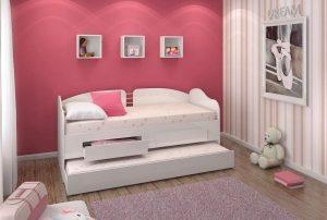 ديتاليا ودين سرير درجي مزدوج مع درجين، ابيض - 193 x 85 x 85 سم
