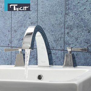 Universal TAPCET Chrome 2-Handle Bathroom Faucet Basin Sink Mixer Taps Deck Mount