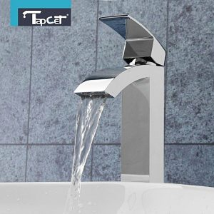 Universal TAPCET Chrome Bathroom Waterfall Faucet Single Handle Sink Basin Mixer Taps