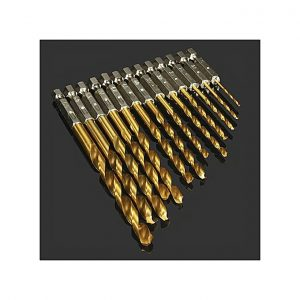 Generic HSS Titanium Coated 1 / 4 Inch Hex Shank High Speed Steel Drill Bit Set 13PCs 1.5 - 6.5mm